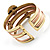Two-Tone Geometric Hematite Ethnic Cuff Bangle - view 11