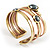 Two-Tone Geometric Hematite Ethnic Cuff Bangle - view 12