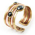 Two-Tone Geometric Hematite Ethnic Cuff Bangle - view 6