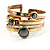 Two-Tone Geometric Hematite Ethnic Cuff Bangle - view 13
