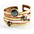 Two-Tone Geometric Hematite Ethnic Cuff Bangle - view 3