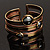 Two-Tone Geometric Hematite Ethnic Cuff Bangle - view 2