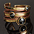 Two-Tone Geometric Hematite Ethnic Cuff Bangle - view 4