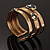 Two-Tone Geometric Hematite Ethnic Cuff Bangle - view 5