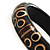 Resin Bamboo Spot/Stripe Shell Inlay Bangle (Black&Beige) - view 5