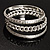 Patterned Metal Bangles - Set of 3 (Silver Tone) - view 1