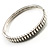 Slim Crystal Bangle Bracelet (Silver Tone) - view 6
