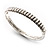 Slim Crystal Bangle Bracelet (Silver Tone) - view 2