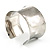 Silver Tone Wide Etched Floral Cuff Bangle - view 8