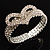 Dazzling Swarovski Crystal Heart Flex Bangle Bracelet (Silver Tone)