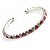 Clear&Pink Crystal Thin Flex Bangle Bracelet (Silver Tone)