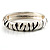 Zebra Print Enamel Thin Hinged Bangle Bracelet (Black&White) - up to 17cm Length - view 6