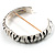 Zebra Print Enamel Thin Hinged Bangle Bracelet (Black&White) - up to 17cm Length - view 2
