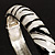 Zebra Print Enamel Thin Hinged Bangle Bracelet (Black&White) - up to 17cm Length - view 7