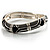 Silver Tone Curvy Enamel Crystal Hinged Bangle (Black, Grey&amp;Beige)