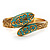 Gold Tone Snake Hinged Bangle Bracelet (Aqua) - view 7