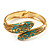 Gold Tone Snake Hinged Bangle Bracelet (Aqua) - view 2