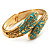 Gold Tone Snake Hinged Bangle Bracelet (Aqua) - view 8