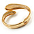 Gold Tone Snake Hinged Bangle Bracelet (Aqua) - view 5
