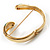 Gold Tone Snake Hinged Bangle Bracelet (Aqua) - view 6