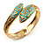 Gold Tone Snake Hinged Bangle Bracelet (Aqua) - view 3