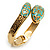 Gold Tone Snake Hinged Bangle Bracelet (Aqua) - view 9