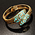 Gold Tone Snake Hinged Bangle Bracelet (Aqua) - view 10