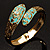 Gold Tone Snake Hinged Bangle Bracelet (Aqua) - view 4