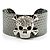Swarovski Crystal Skull Cuff Bangle (Silver Tone Metal) - view 1