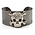 Swarovski Crystal Skull Cuff Bangle (Silver Tone Metal) - view 7