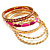 Set Of 5 Pcs Metal Gold Bangles (Pink Enamel) - view 2
