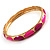 Set Of 5 Pcs Metal Gold Bangles (Pink Enamel) - view 10