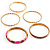 Set Of 5 Pcs Metal Gold Bangles (Pink Enamel) - view 3