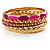 Set Of 5 Pcs Metal Gold Bangles (Pink Enamel) - view 11