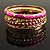 Set Of 5 Pcs Metal Gold Bangles (Pink Enamel) - view 12
