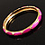 Set Of 5 Pcs Metal Gold Bangles (Pink Enamel) - view 4