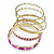 Set Of 5 Pcs Metal Gold Bangles (Pink Enamel) - view 14
