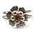 Bridal Imitation Pearl Floral Hinged Bangle Bracelet (Silver Tone) - view 8