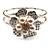 Bridal Imitation Pearl Floral Hinged Bangle Bracelet (Silver Tone) - view 11
