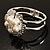 Bridal Imitation Pearl Floral Hinged Bangle Bracelet (Silver Tone) - view 10