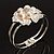 Bridal Imitation Pearl Floral Hinged Bangle Bracelet (Silver Tone) - view 12