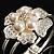 Bridal Imitation Pearl Floral Hinged Bangle Bracelet (Silver Tone) - view 4