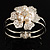 Bridal Imitation Pearl Floral Hinged Bangle Bracelet (Silver Tone) - view 3