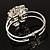 Bridal Imitation Pearl Floral Hinged Bangle Bracelet (Silver Tone) - view 9
