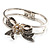 Prom Crystal Simulated Pearl Bow Hinged Bangle Bracelet (Silver Tone) - view 3