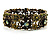 Victorian Olive Green Crystal Floral Flex Cuff Bangle (Bronze Tone) - view 7