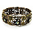 Victorian Olive Green Crystal Floral Flex Cuff Bangle (Bronze Tone) - view 1