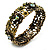 Victorian Olive Green Crystal Floral Flex Cuff Bangle (Bronze Tone) - view 2