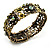 Victorian Olive Green Crystal Floral Flex Cuff Bangle (Bronze Tone) - view 9