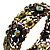 Victorian Olive Green Crystal Floral Flex Cuff Bangle (Bronze Tone) - view 4